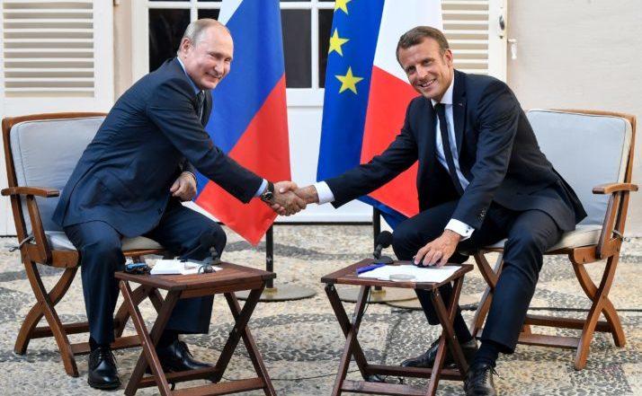Vladimir Putin, Emmanuel Macron în Franţa