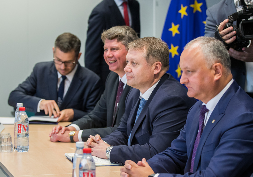 Igor Dodon şi Vadim Brînzan, la Bruxelles, 04.09.2019