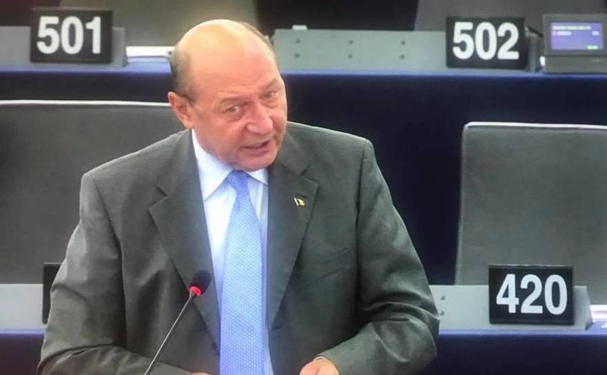 Traian Băsescu în Parlamentul European de la Strasbourg