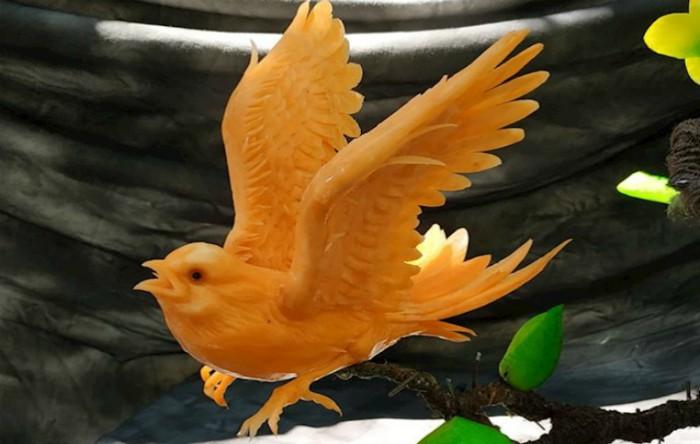 Pasăre creată din dovleac