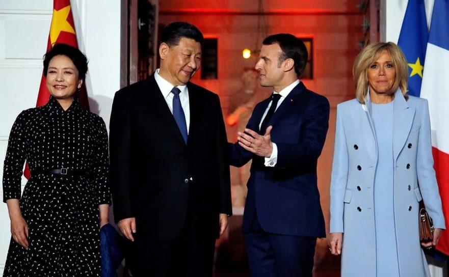 Preşedintele francez Emmanuel Macron împreună cu Xi Jinping, omologul său chinez, arhivă, aprilie 2019