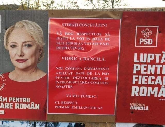Afisul electoral prin care primarul comunei Darmanesti le cere localnicilor sa o voteze pe Viorica Dancila.