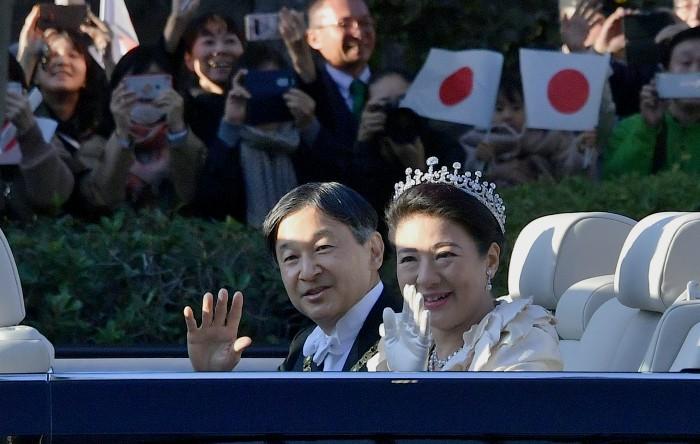 Împăratul Naruhito împreună cu împărăteasa Masako