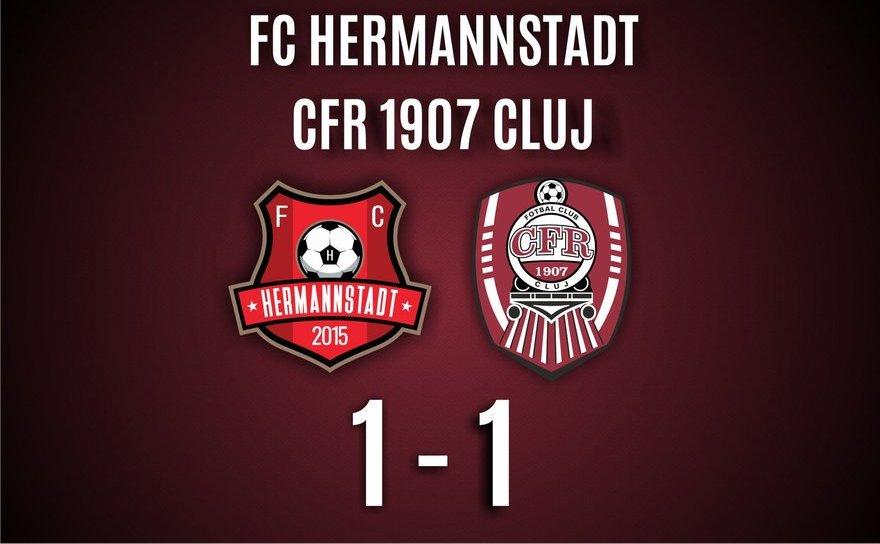 FC Hermannstadt - CFR Cluj 1-1, în  etapa a 18-a a Ligii I de  fotbal.