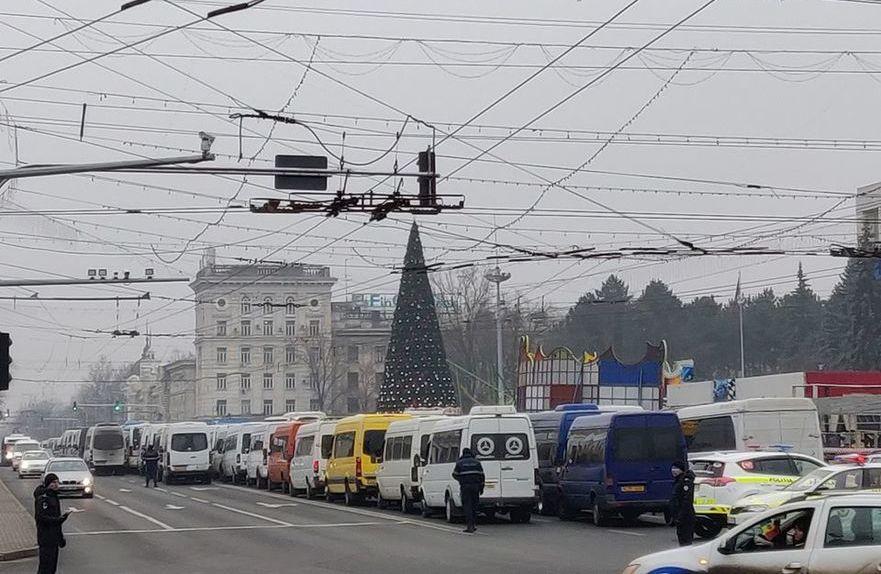 Protestul transportatorilor de pasageri la Chişinău
