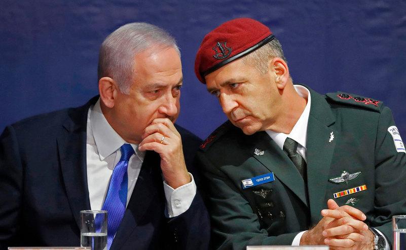 Şeful statului major israelian, Aviv Kochavi, împreună cu Benjamin Netanyahu