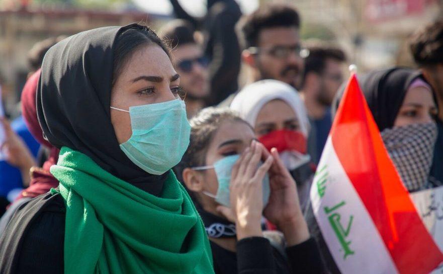 Studenţi irakieni demonstrând împotriva regimului în Basra, 8 ianuarie 2020