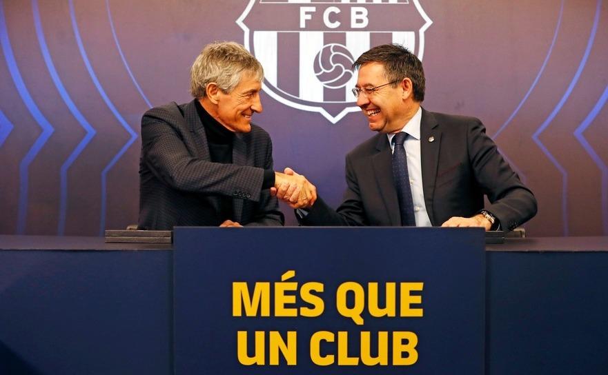 Noul  tehnician al echipei de fotbal FC Barcelona, Quique Setien.