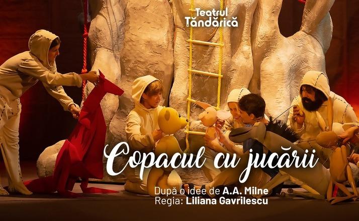 """Scenă din piesa """"Copacul cu jucării"""", ce va fi transmisă online pe pagina de Facebook a Teatrului Ţăndărică"""