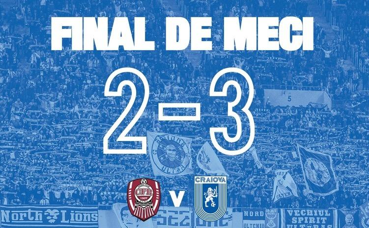 Universitatea Craiova, învingătoare cu 3-2 pe terenul liderului CFR Cluj.