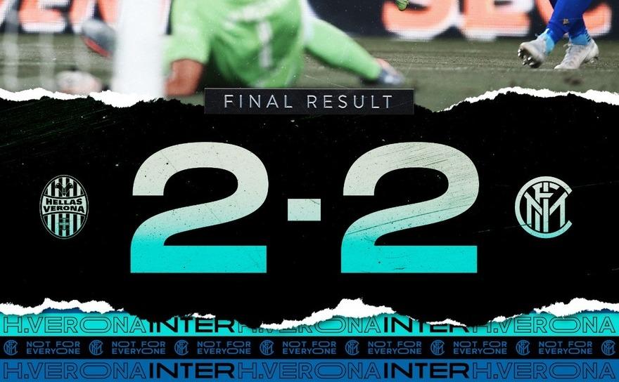 Echipa Inter Milano - Hellas Verona,   2-2, în etapa a 31-a a campionatului de fotbal al Italiei.