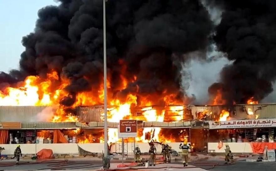 Incendiul masiv al bazarul iranian din Ajman