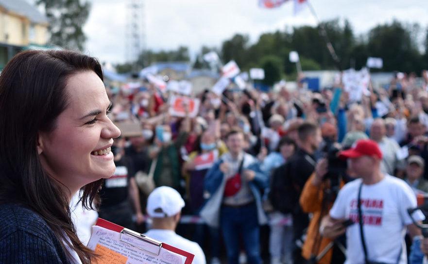 Tatiana Tikhanovskaia, la un miting electoral şi protest împotriva lui Alexander Lukașenko în Minsk