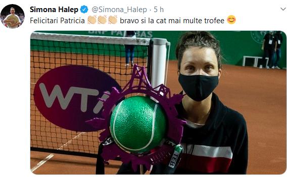 Simona Halep a felicitat-o pe Twitter pe Patricia Ţig pentru cucerirea primului titlu WTA al carierei (Istambul).