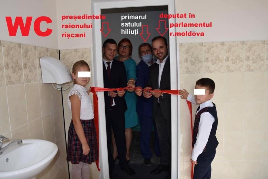 Inaugurarea unui veceu în s.Hiliuţi în prezenţa persoanelor oficiale