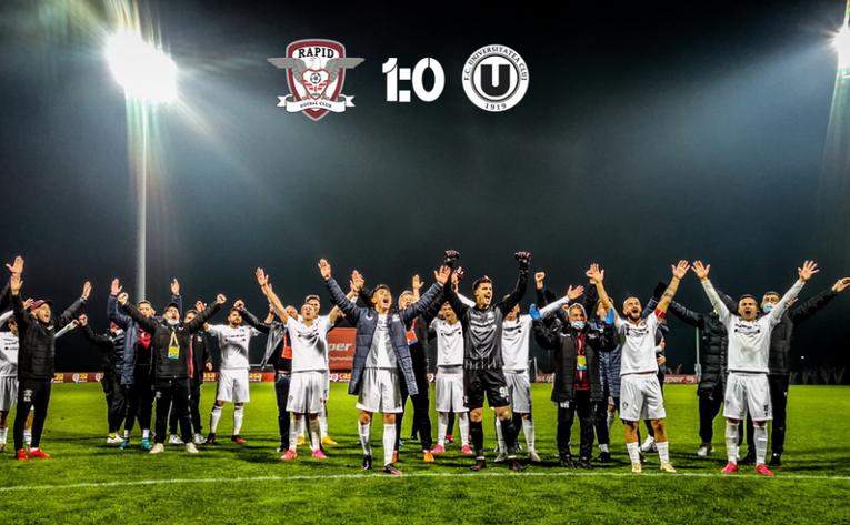 FC Rapid Bucureşti - FC Universitatea Cluj 1-0 (0-0), în etapa a   10-a a Ligii a II-a de fotbal.