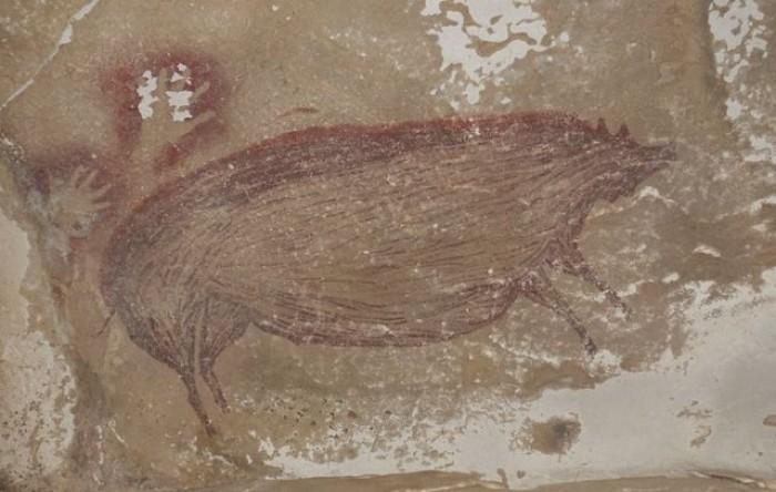 Pictură rupestră de acum 45.500 de ani în Indonezia