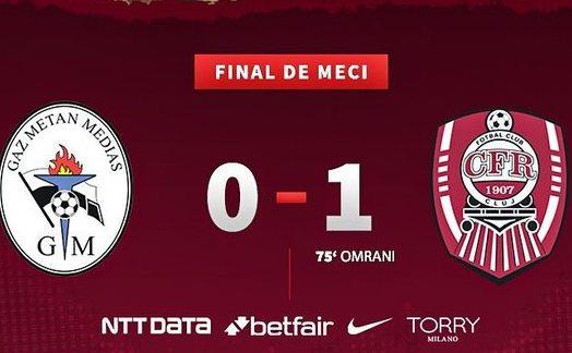Gaz Metan Mediaş - CFR Cluj cu scorul de 0-1 (0-0), în etapa a 24-a a  Ligii I de fotbal.
