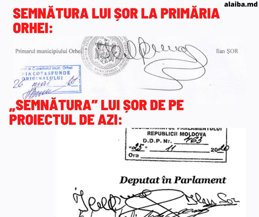 Două semnături ale lui Ilan Şor