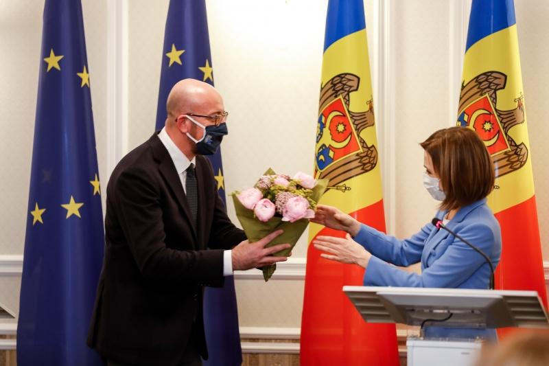 Maia Sandu şi Charles Michel, la Chişinău