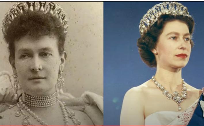 Regina Maria a Angliei şi Regina Elisabeta a II-a purtând tiara Vladimir