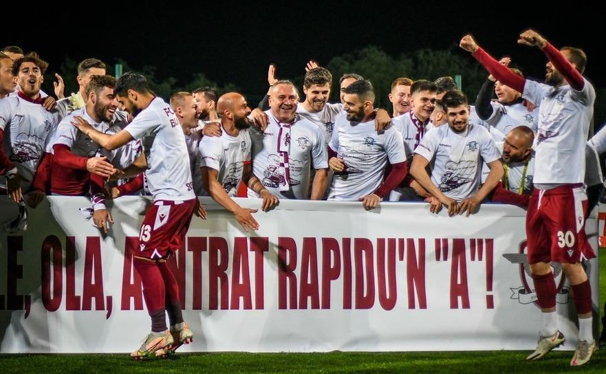 Echipa de fotbal FC Rapid Bucureşti a promovat în primul eşalon competiţional fotbalistic de la noi din ţară - Liga I.