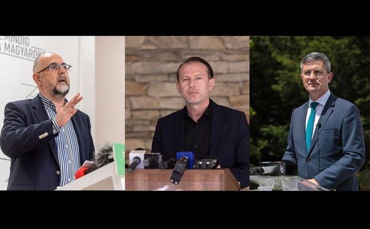(De la st la dr) Kelemen Hunor, Florin Cîţu şi Dan Barna