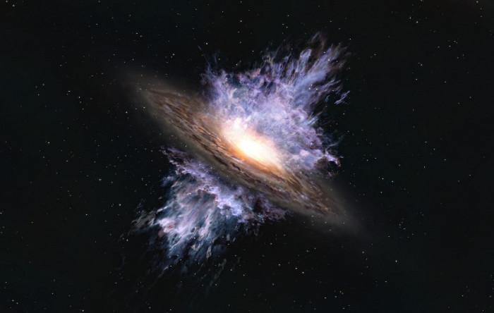 Ilustraţie artistică a unui vânt galactic condus de o gaură neagră supermasivă situată în centrul unei galaxii.