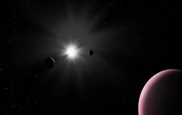 Imagine artistică a sistemului planetar Nu2 Lupi