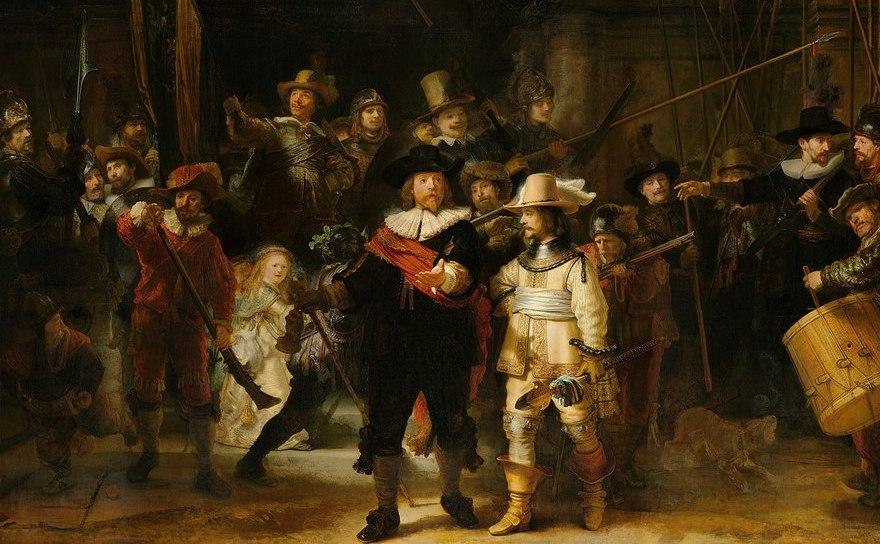 """""""Rondul de noapte"""" (1642), lucrare cunoscută şi sub numele de """"Căpitanul Frans care interzice miliţia lui Cocq"""" - ulei pe pânză, 359x438cm, gen: portret colectiv, autor: REMBRANDT. Rijksmuseum, Amsterdam."""