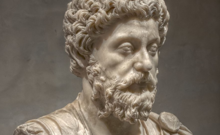 Împăratul Marcus Aurelius - bust de marmură.