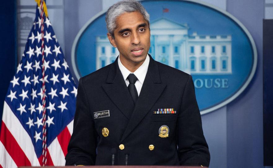 Chirurgul General al SUA, dr. Vivek Murthy speaks during a press